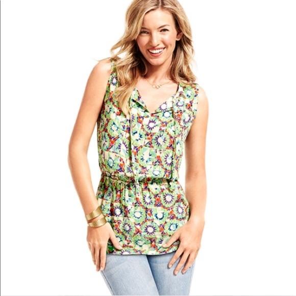 8d3952cdeec CAbi Tops | 316 Green Print Sleeveless Blouse Tunic Top | Poshmark